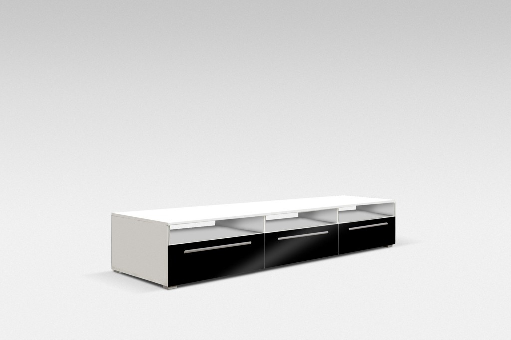 TV stolek NICEA 150, bílá/bílá lesk