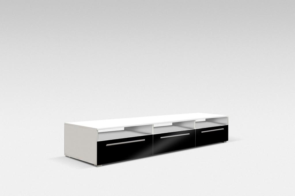 TV stolek NICEA 150, bílá/černá lesk