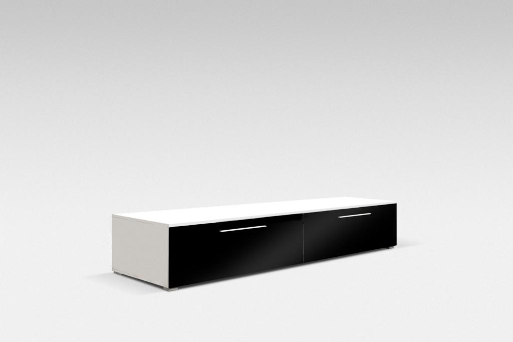 TV stolek NICEA 100, bílá/černá lesk