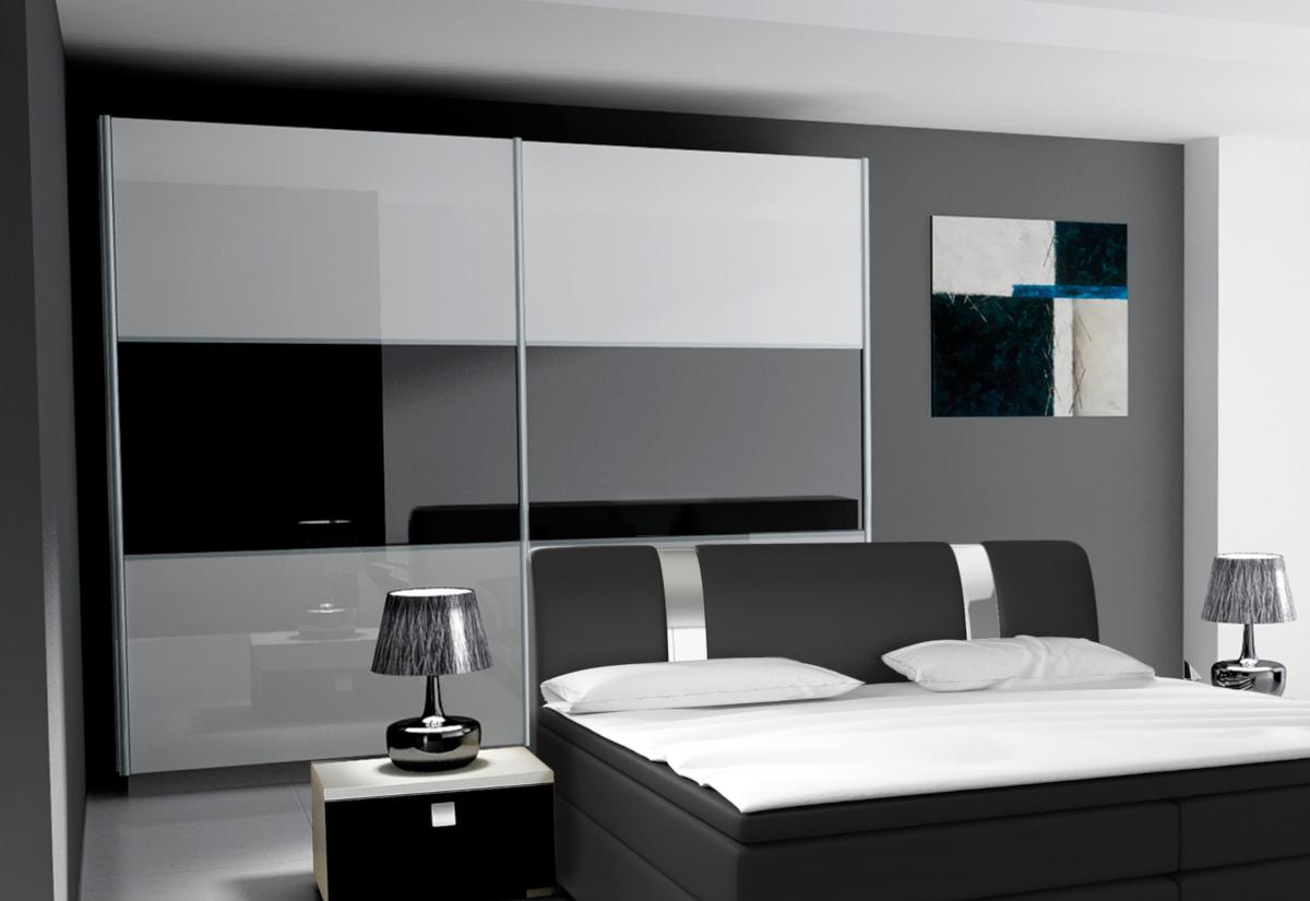Posuvná šatní skříň RIVA 270, bílá/fialová lesk