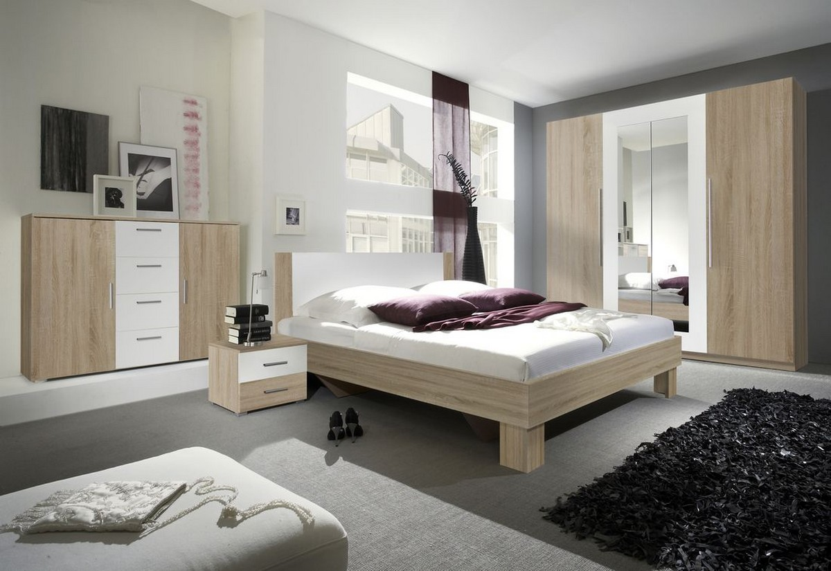VERA - Ložnicová sestava - skříň (20), postel 160 + 2x noční stolek (51), komoda (26), dub sonoma/bílý