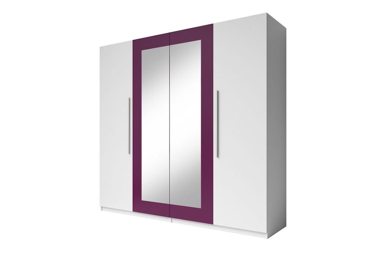 VERA - Šatní skříň se zrcadlem (20), bílá/lila