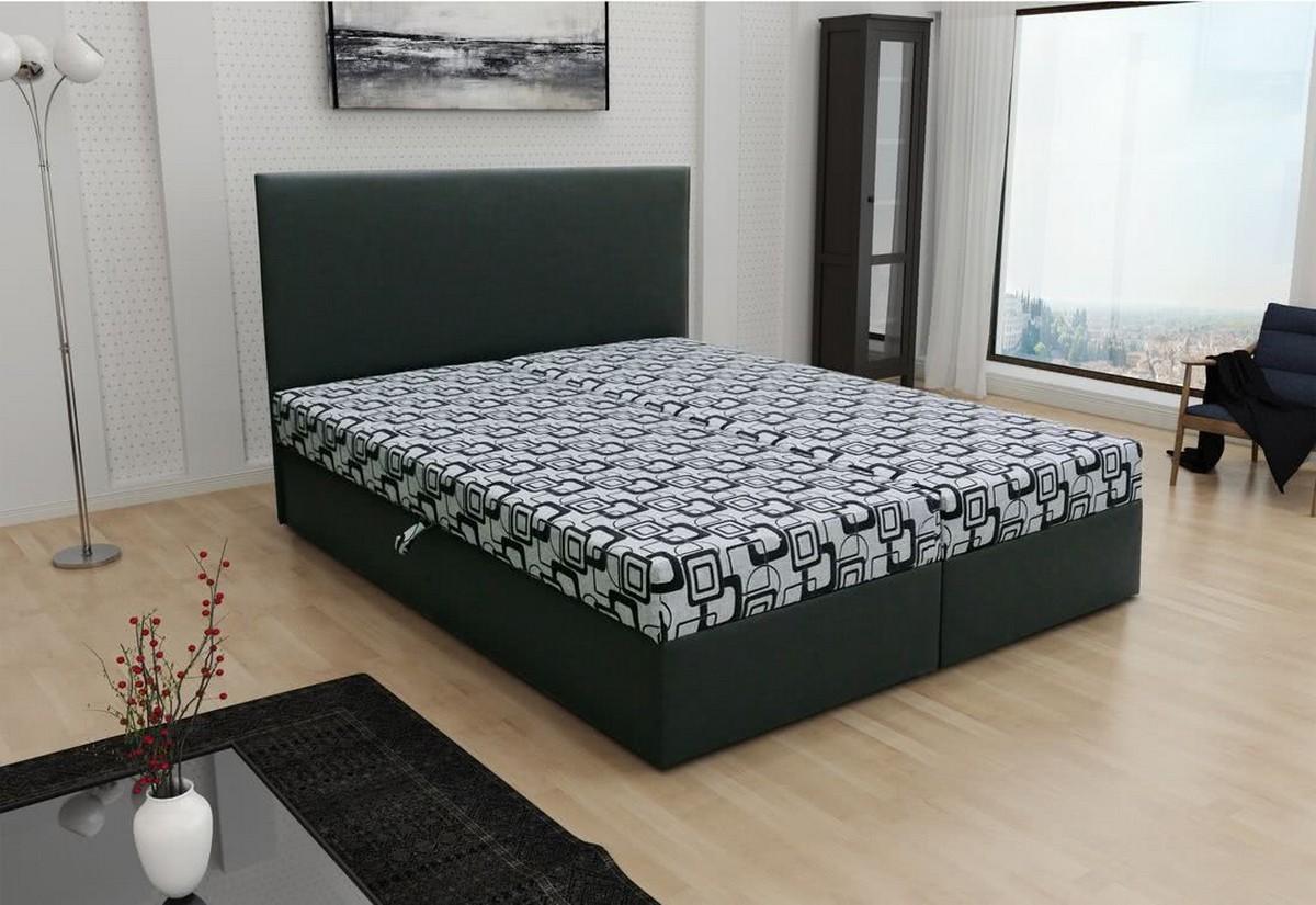 Manželská postel TOM včetně matrace, 140x200, Dolaro 8 černý/Siena šedý