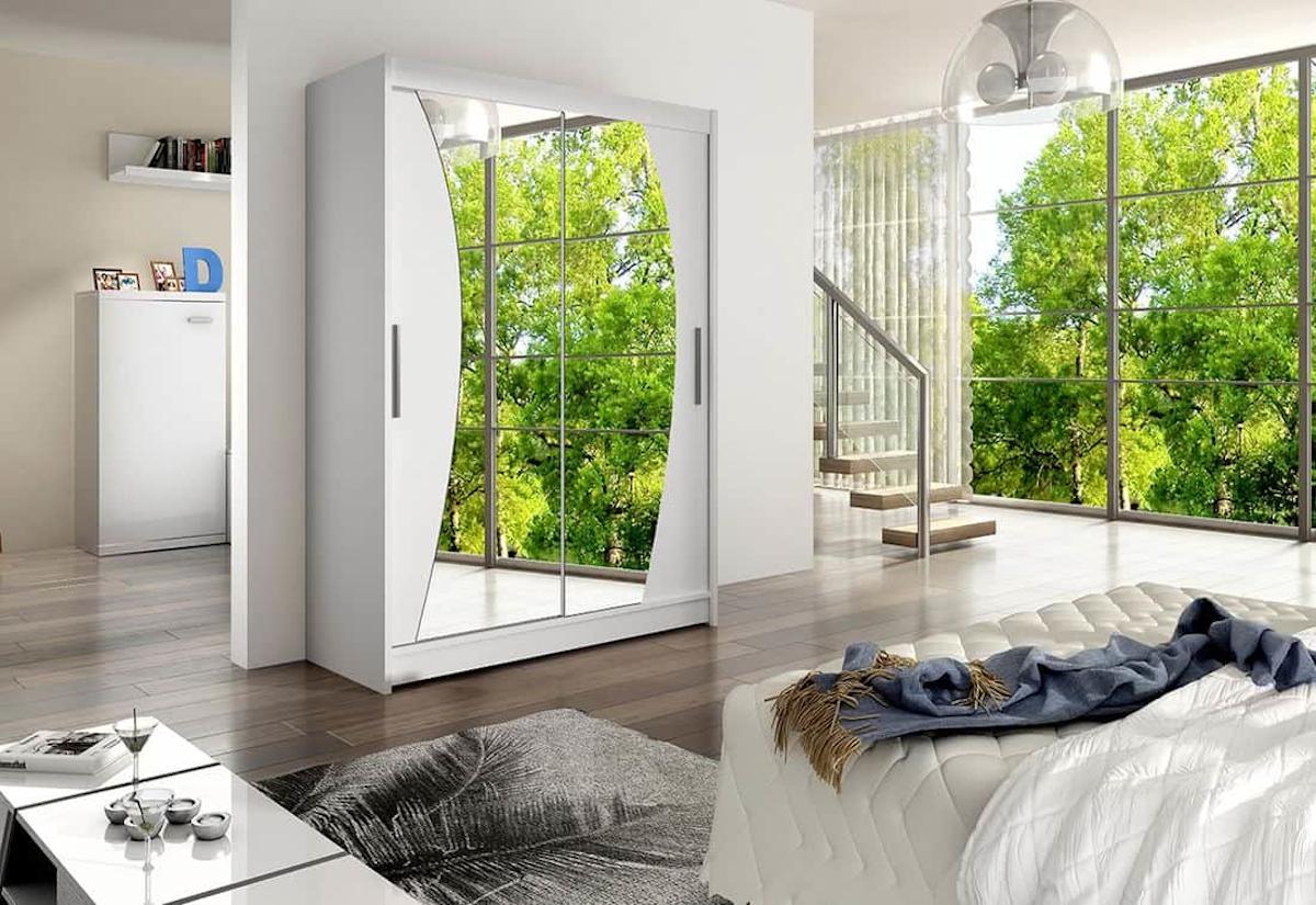 Posuvná šatní skříň WESTA X se zrcadlem, 150x200x58, bílá mat