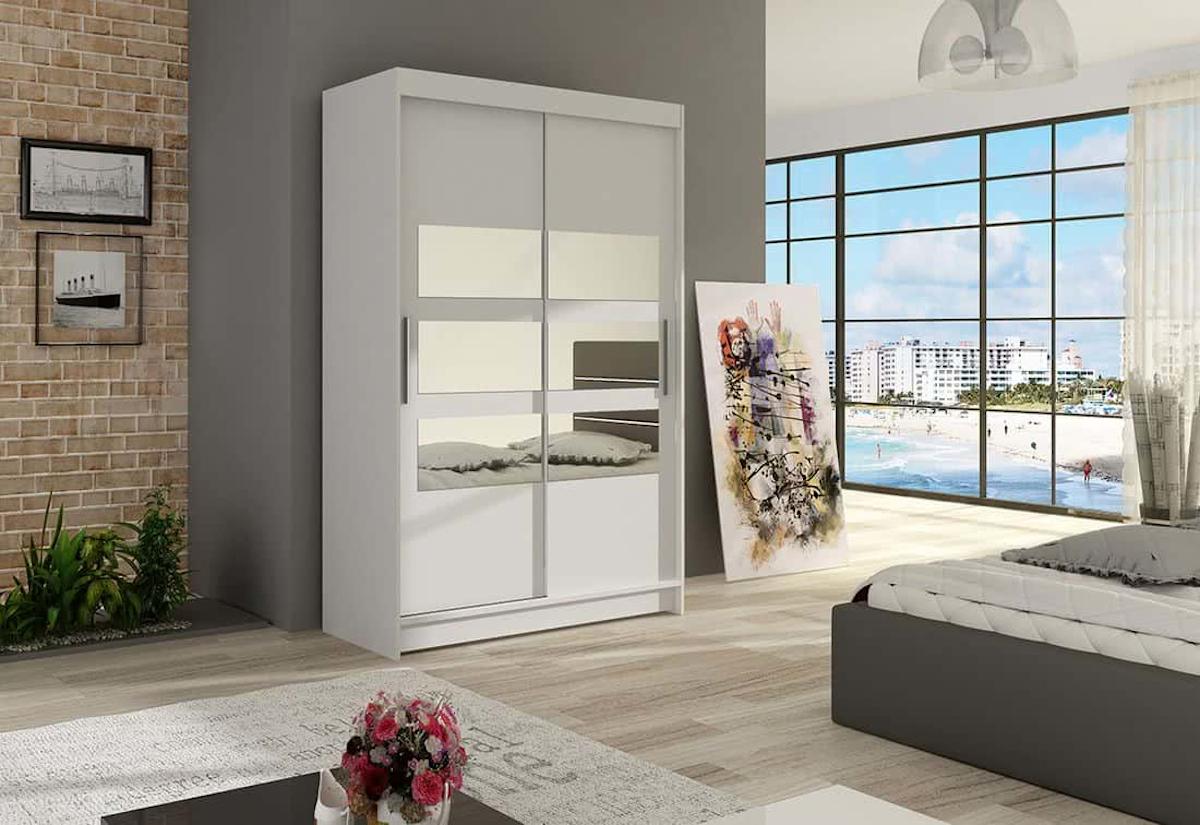 Posuvná šatní skříň MIAMI V se zrcadlem, 120x200x58, bílá mat
