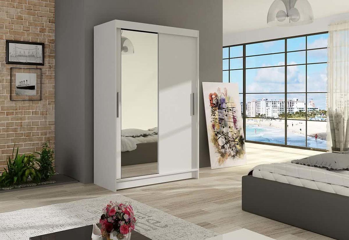 Posuvná šatní skříň MIAMI VI se zrcadlem, 120x200x58, bílá mat