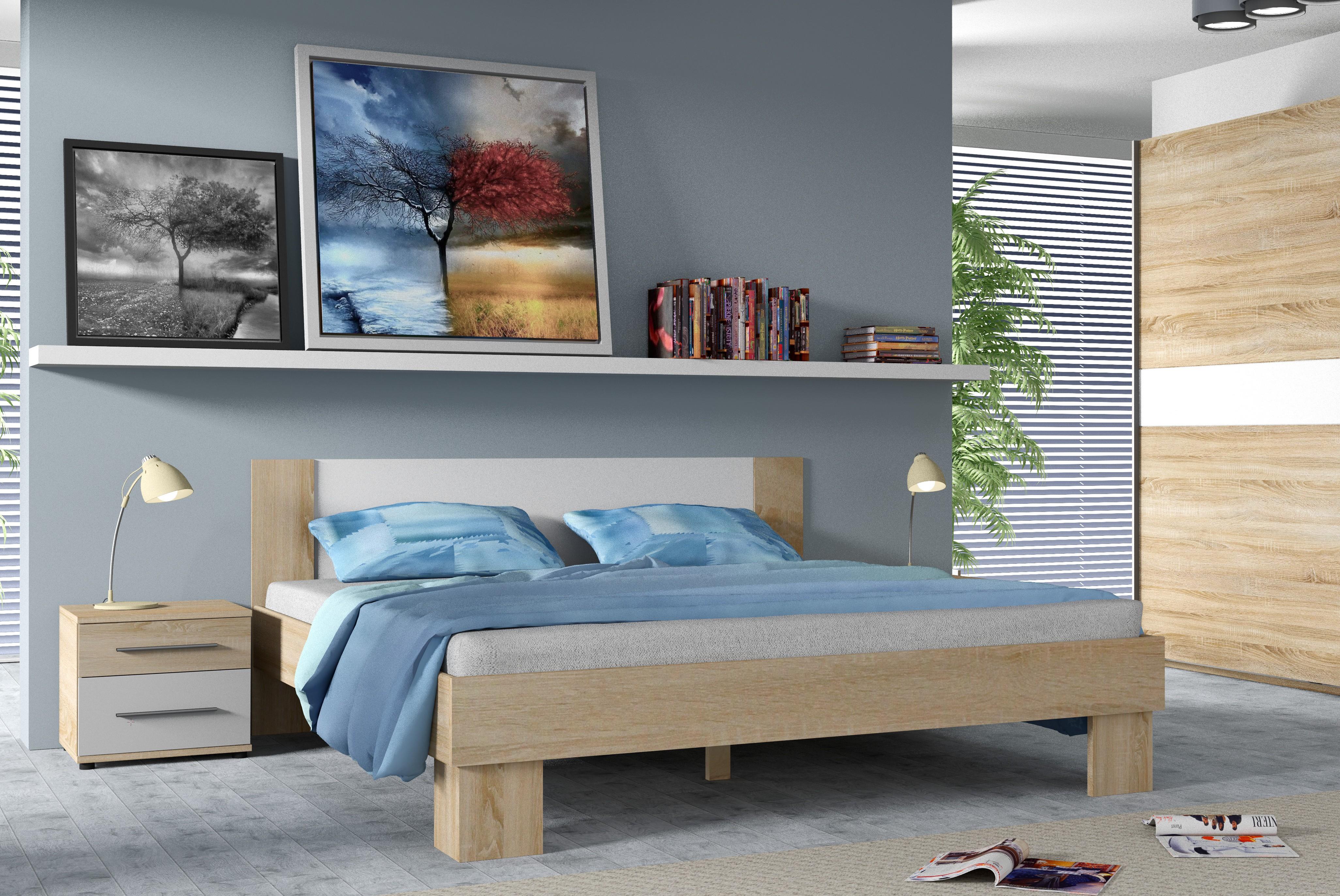 Manželská postel COLORADO, 160x200, dub Sonoma/bílá