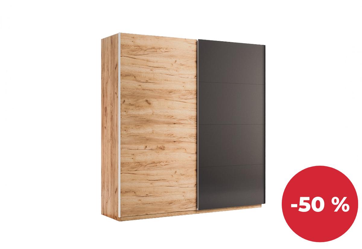 Posuvná šatní skříň LUNA, 200x211x61,5, dub Kraft/šedá