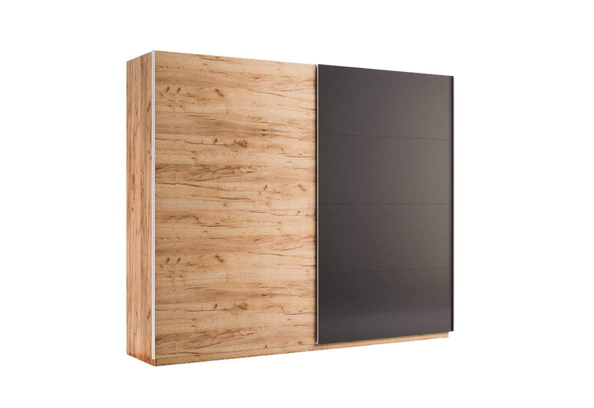 Posuvná šatní skříň LUNA, 250x211x61,5, dub Kraft/šedá