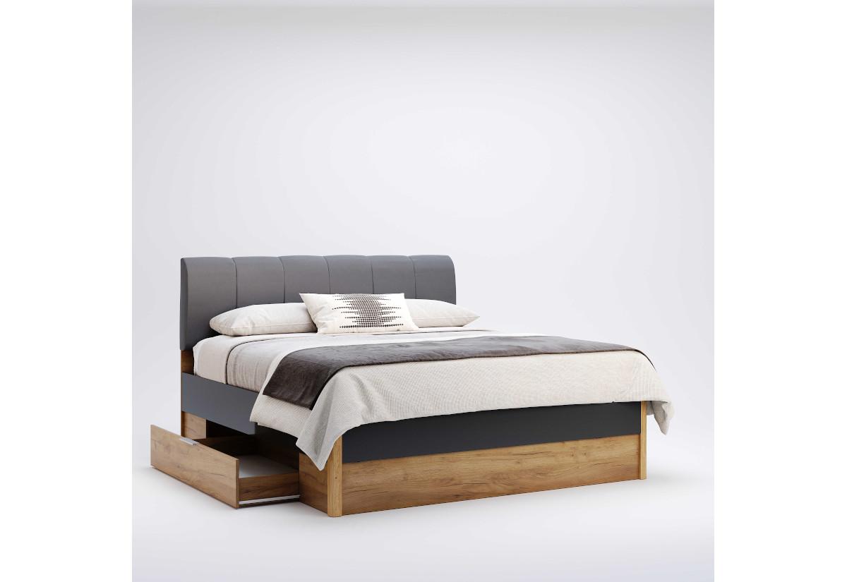 Manželská postel RAMONA se zásuvkami, 160x200, dub kraft/smooth grey