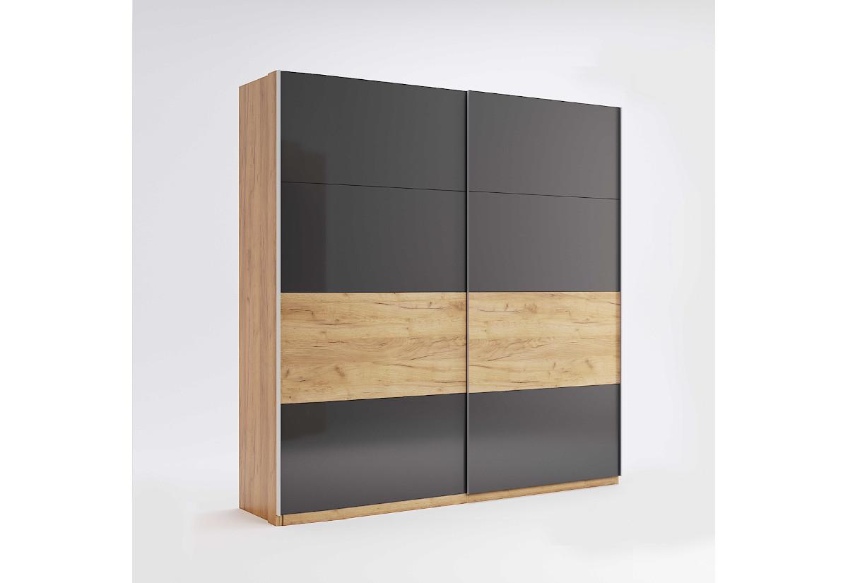 Posuvná šatní skříň RAMONA, 200x211x61,5, dub Kraft/šedá