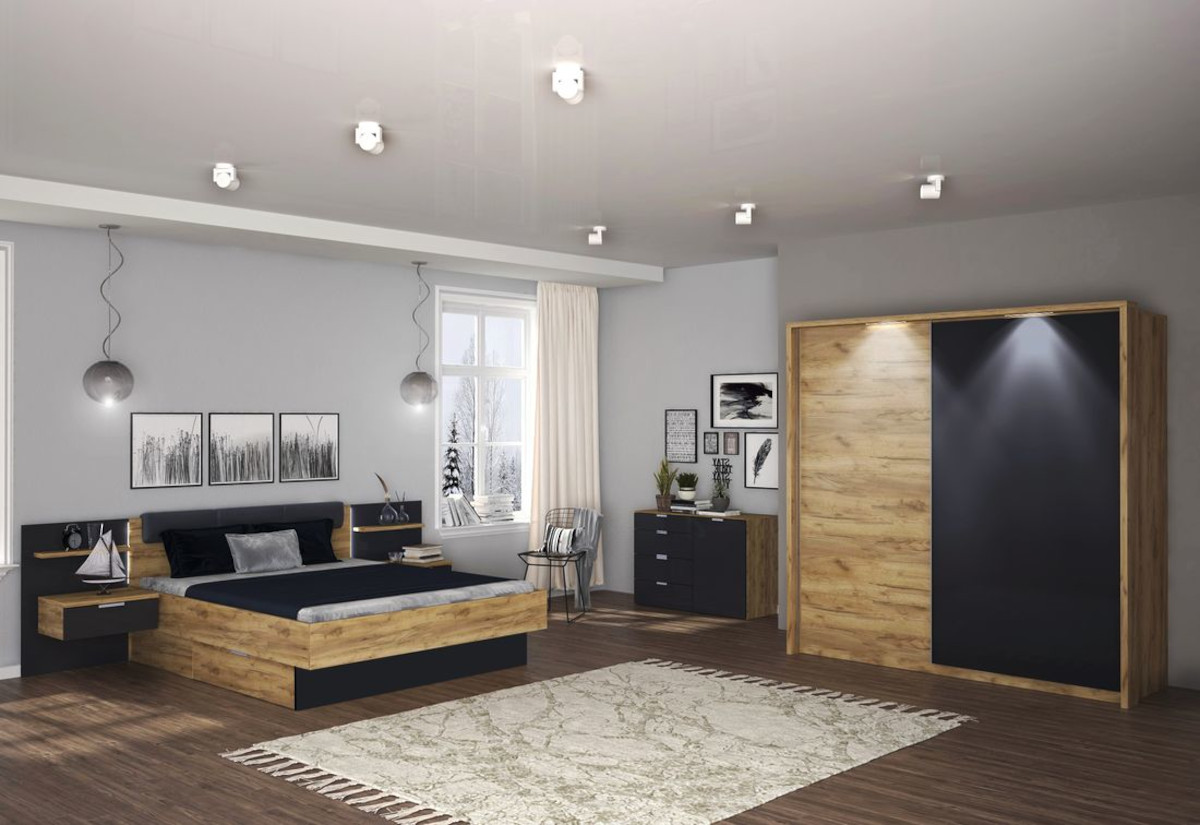 Ložnicová sestava LUNA - postel 180x200+rošt+matrace COMFORT+deska s nočními stolky+posuvná skříň 200+komoda 1 D, 4 šuplíky, dub Kraft/šedá