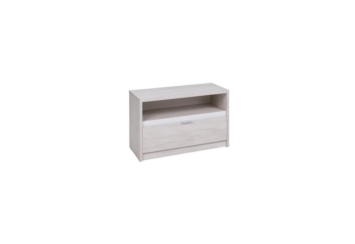 TV stolek DENVER RTV1SZ, 90x46x40, dub bílý/bílá lesk