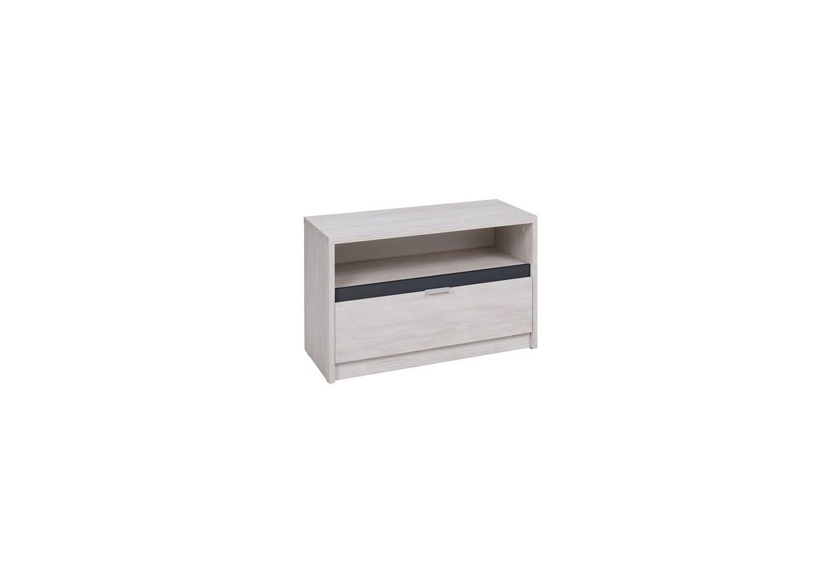 TV stolek DENVER RTV1SZ, 90x46x40, dub bílý/grafit lesk