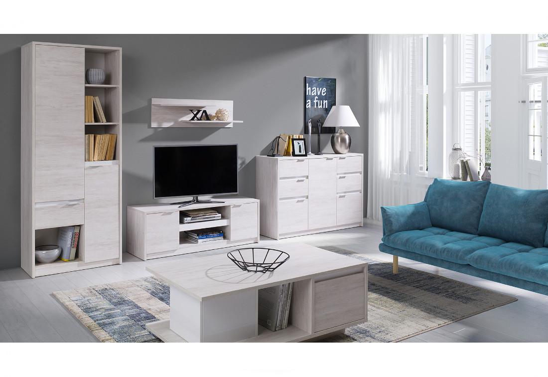 Obývací stěna DENVER 1 - regál + TV stolek RTV2D + komb. komoda + konf. stolek + polička, dub bílý/bílá lesk