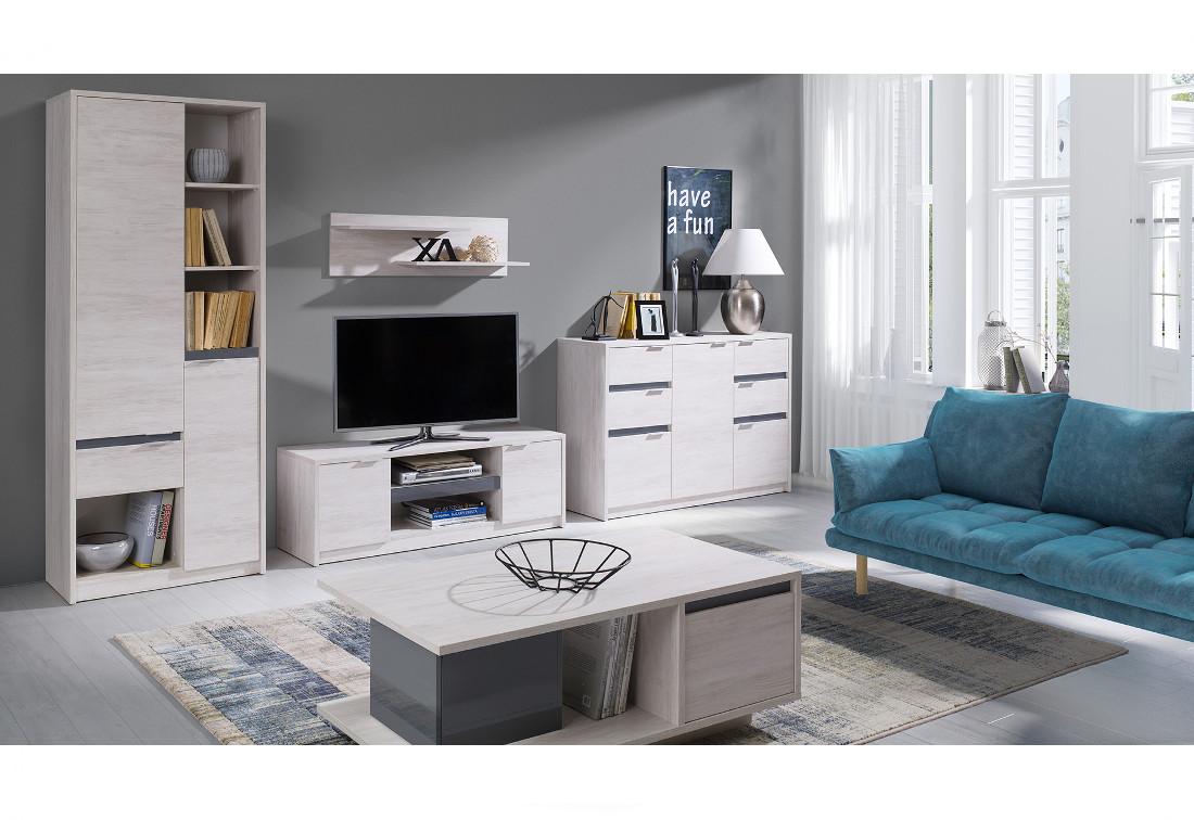 Obývací stěna DENVER 1 - regál + TV stolek RTV2D + komb. komoda + konf. stolek + polička, dub bílý/grafit lesk