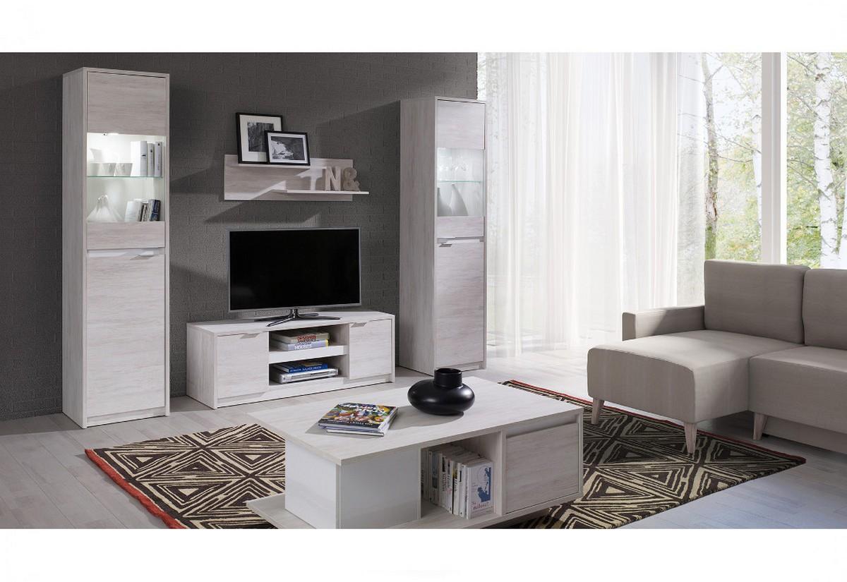Obývací stěna DENVER 2 + LED - TV stolek RTV2D + 2x vitrína s LED + konf. stolek + polička, dub bílý/bílá lesk