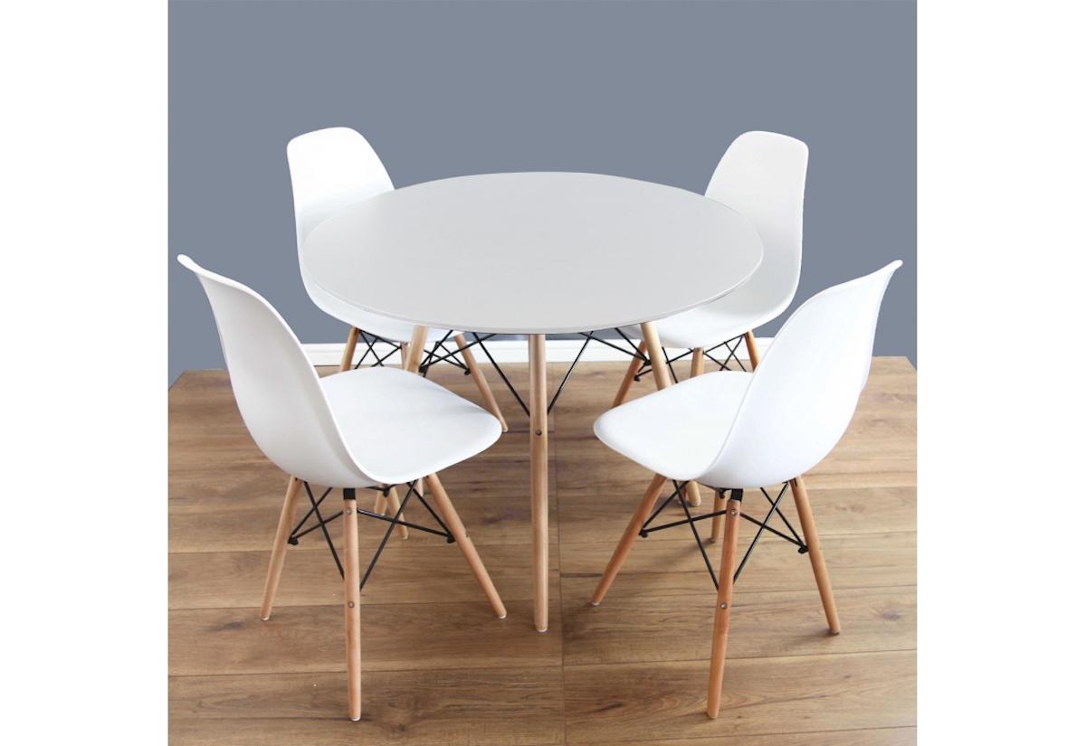 Jídelní sestava FIORINO, stůl + 4x židle, bílá/buk