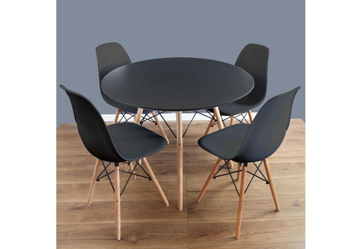 Jídelní sestava FIORINO, černý stůl + 4x černá židle