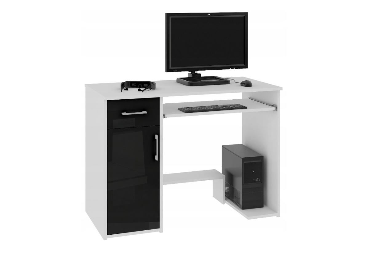 Psací stůl JAY, 90x74x50, bílá/černá lesk