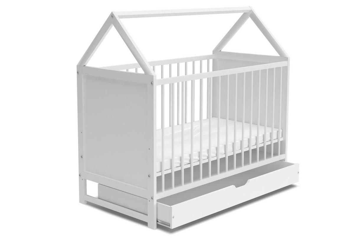 Dětská postýlka ANIA + matrace + ÚP, 60x120, bílá