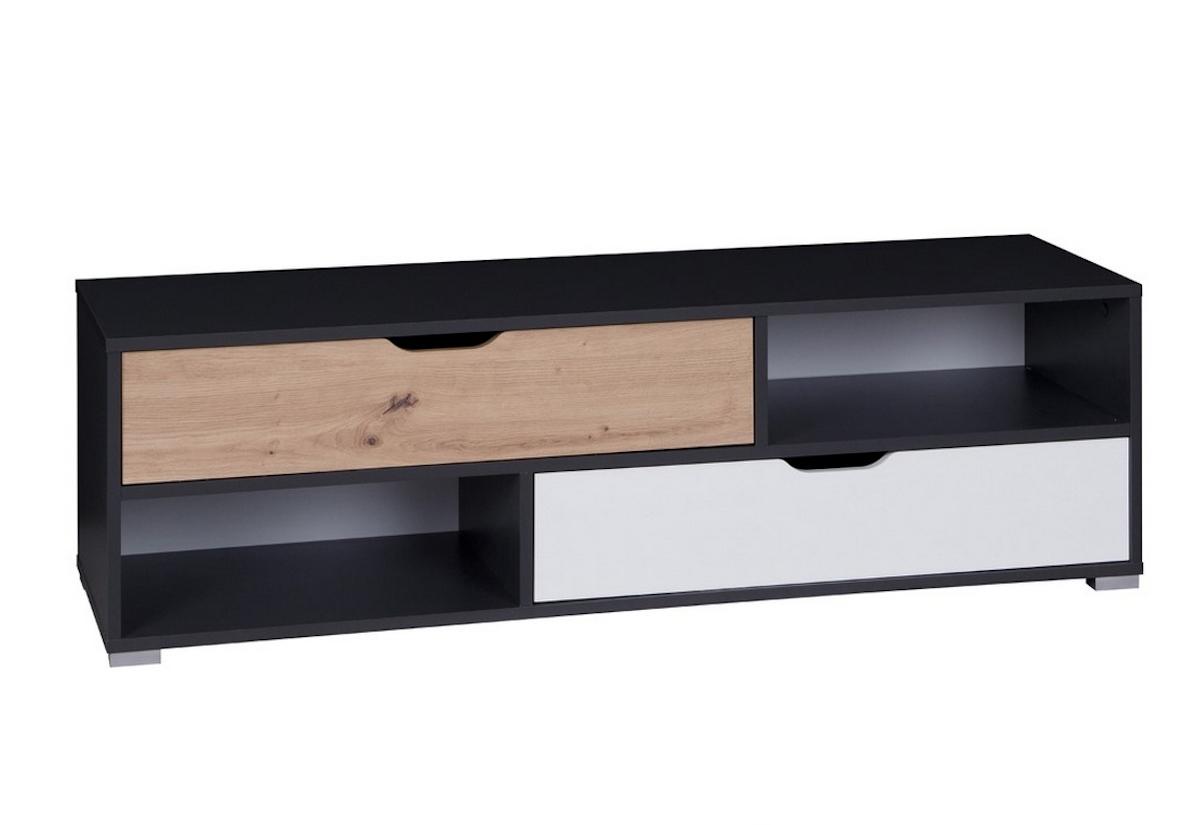 Televizní stolek IWA RTV, 135x40x40, grafit/bílá/dub artisan