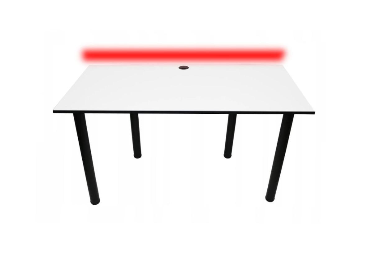 Počítačový herní stůl BIG B2 s LED , 160x73-76x80, bílá/černé nohy