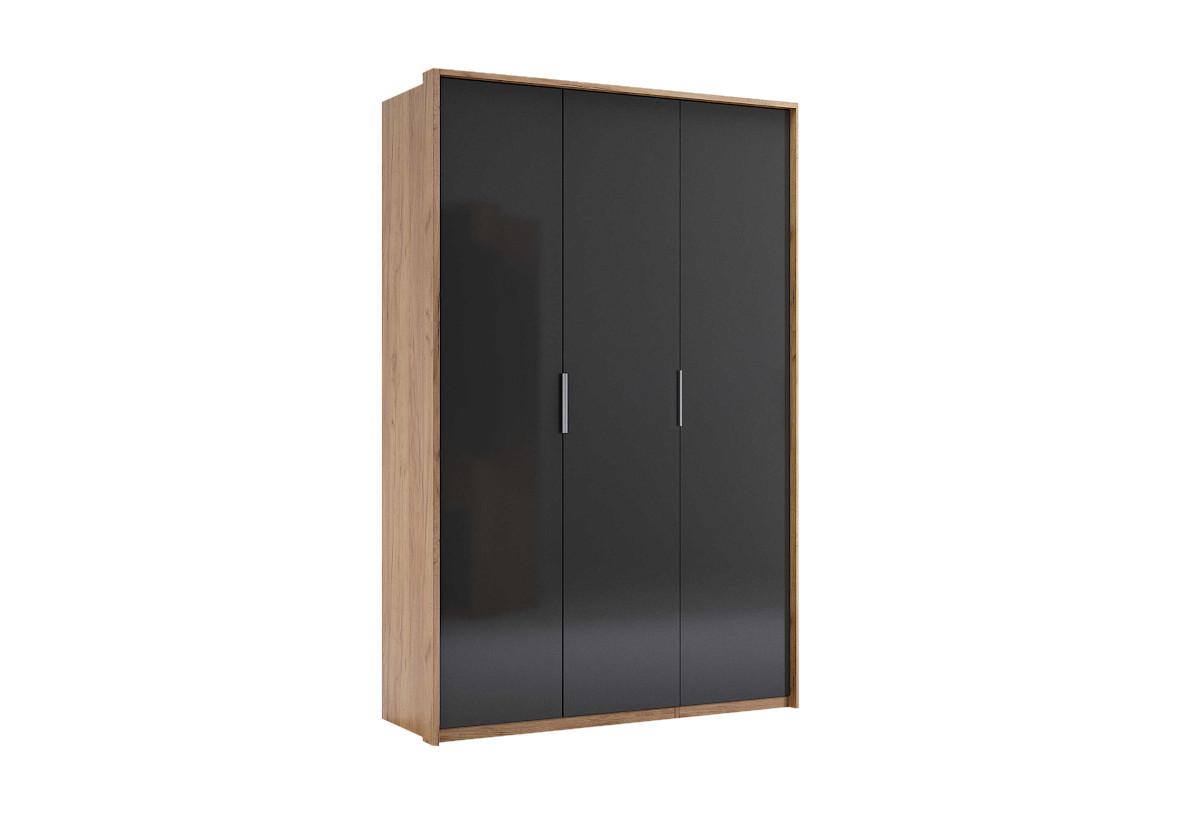 Šatní skříň LUNA 3D, 139,8x213,2x58,5, dub kraft/smooth grey