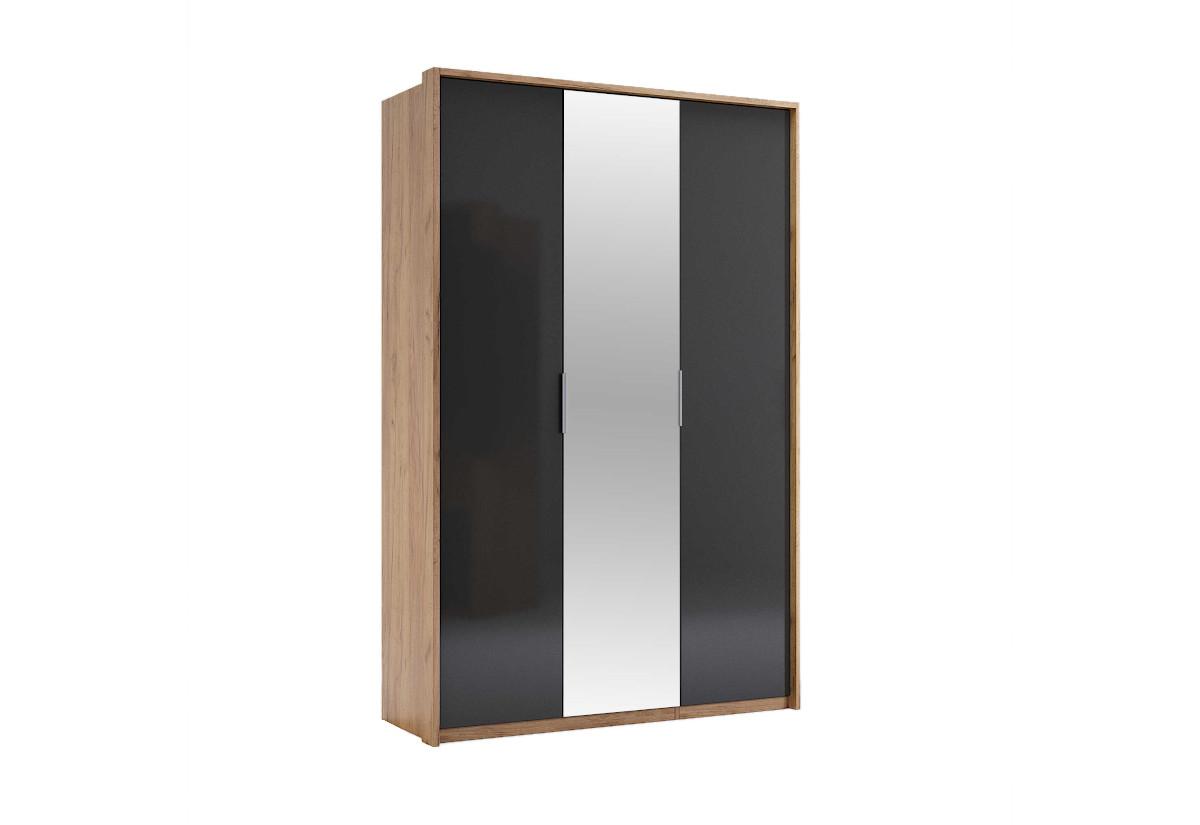 Šatní skříň LUNA 3D se zrcadlem, 139,8x213,2x58,5, dub kraft/smooth grey