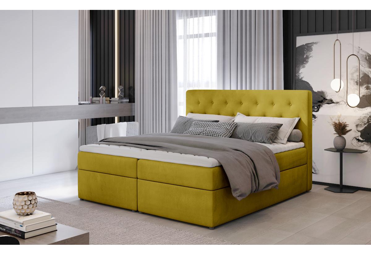 Čalouněná postel boxspring LOREE, 140x200, monolith 48