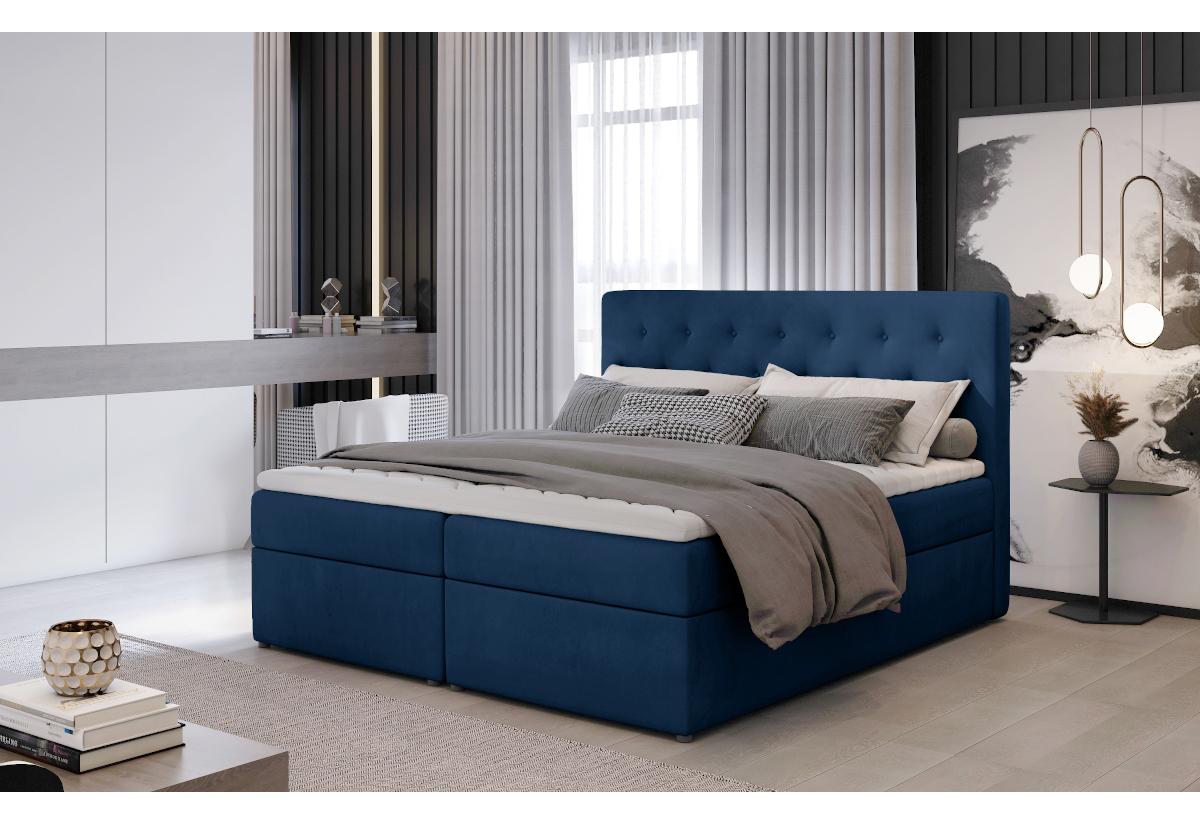 Čalouněná postel boxspring LOREE, 140x200, monolith 77