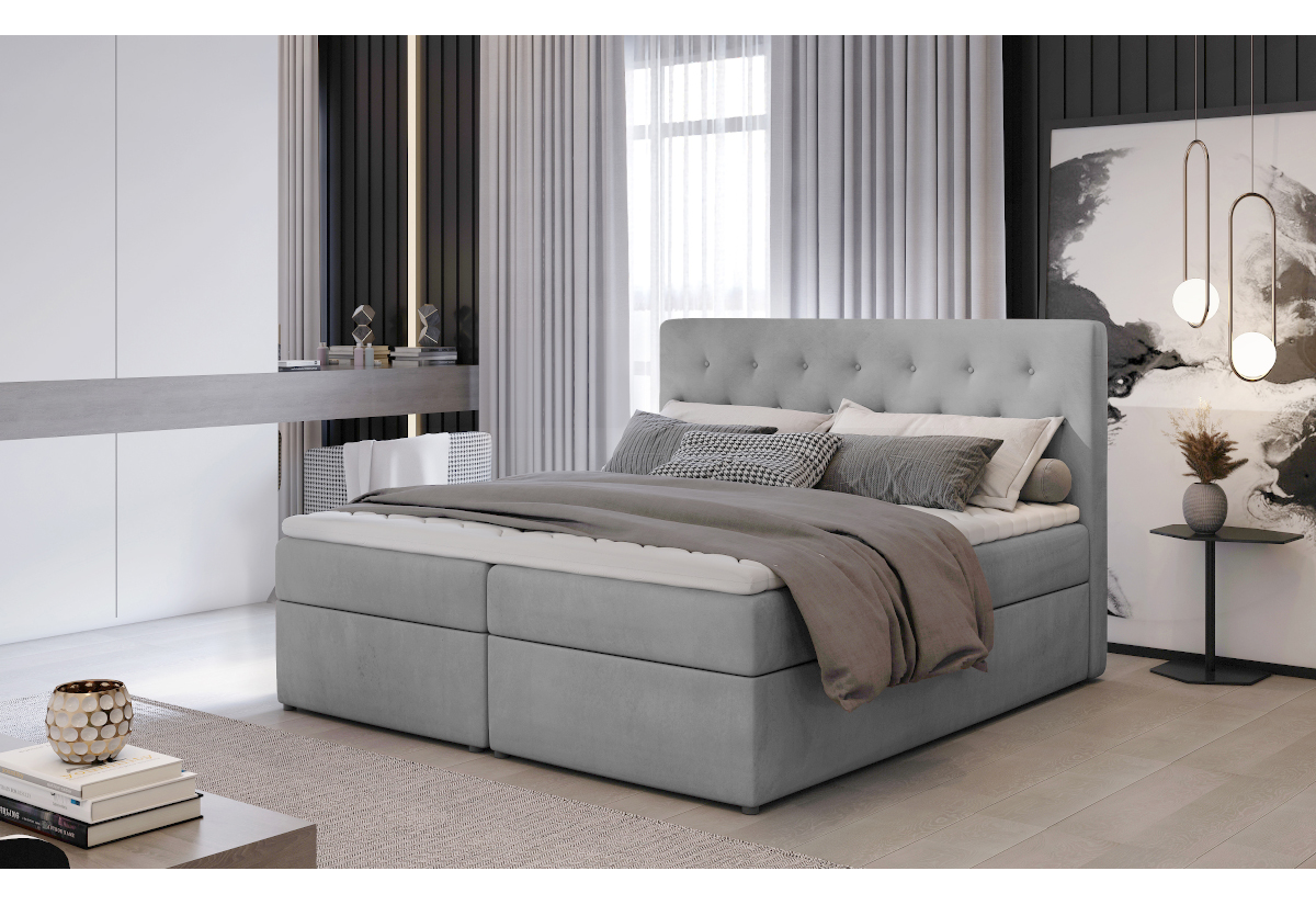 Čalouněná postel boxspring LOREE, 140x200, monolith 84
