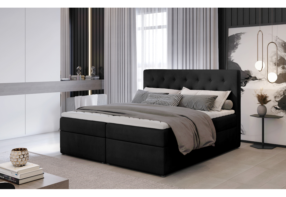 Čalouněná postel boxspring LOREE, 160x200, monolith 97