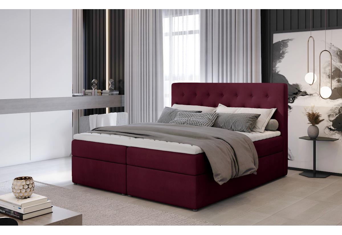 Čalouněná postel boxspring LOREE, 180x200, mat velvet 68