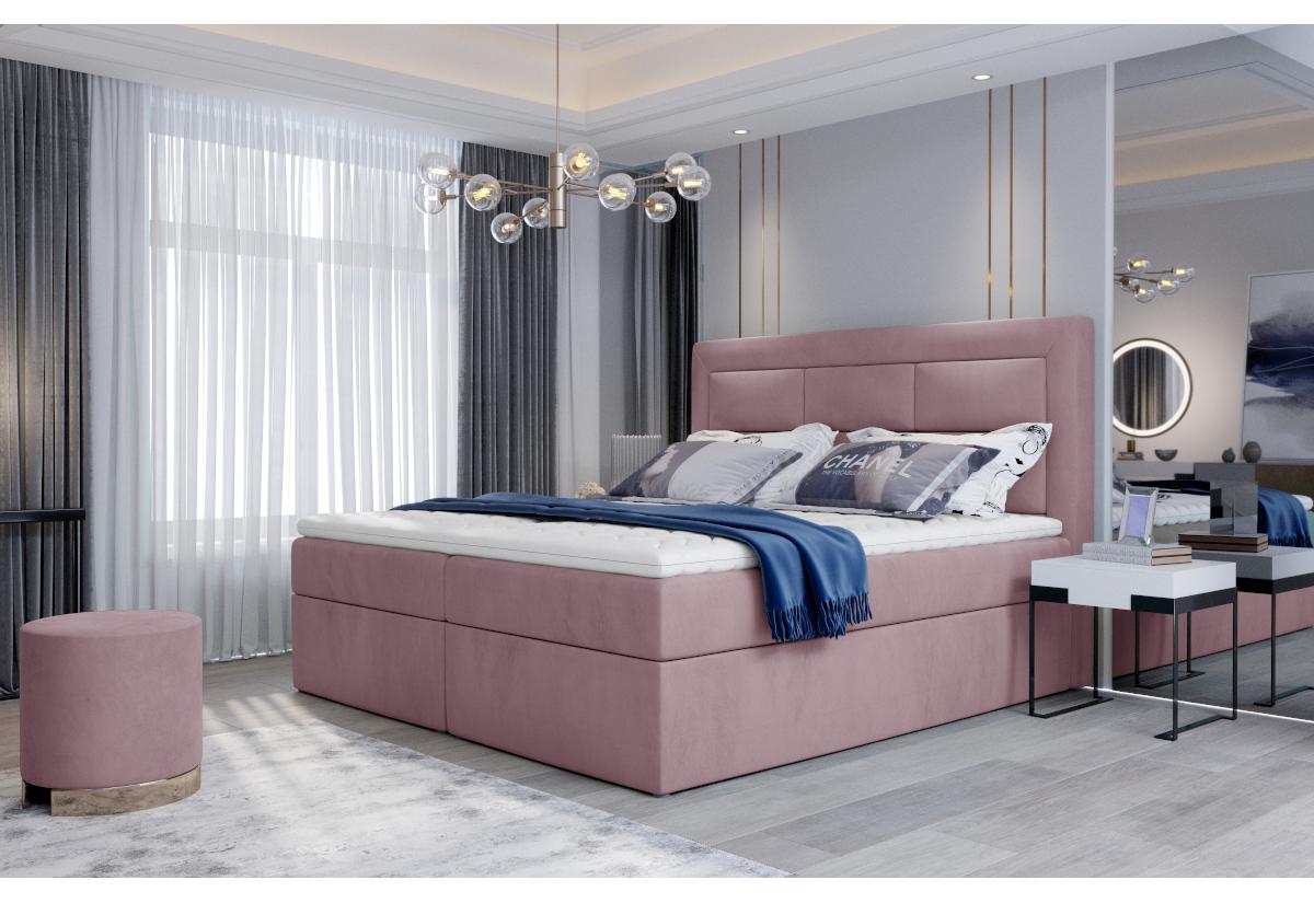Čalouněná postel boxspring VIVRE, 160x200, mat velvet 63
