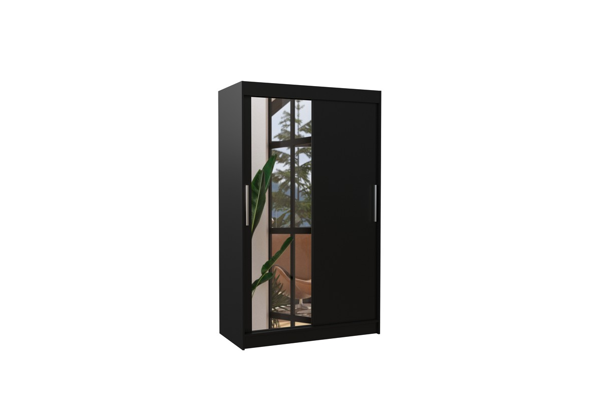Posuvná skříň se zrcadlem BARIO, 120x200x58, černá