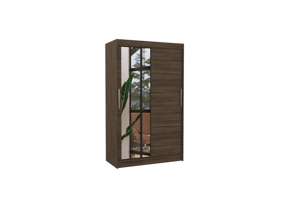 Posuvná skříň se zrcadlem BARIO, 120x200x58, čokoládová