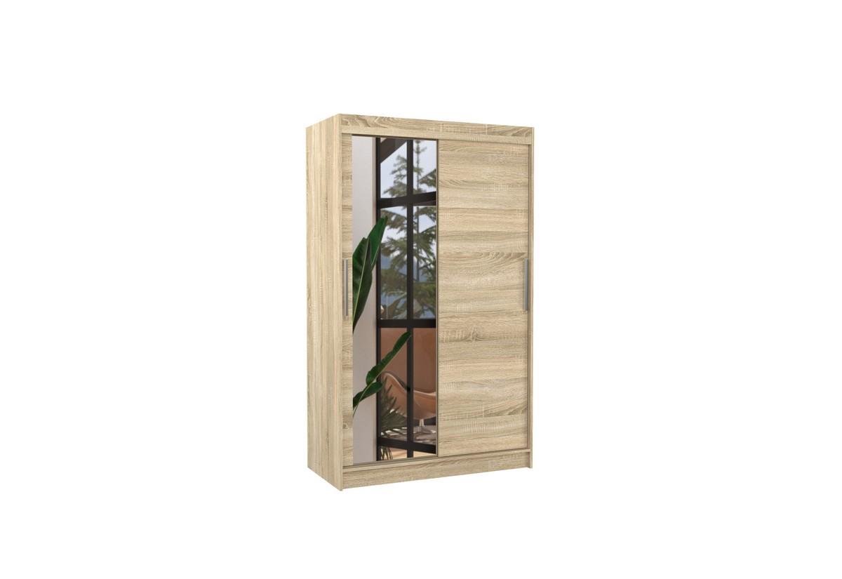 Posuvná skříň se zrcadlem BARIO, 120x200x58, sonoma