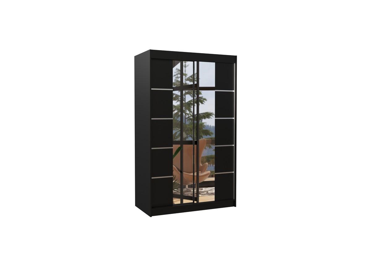 Posuvná skříň se zrcadlem GENUA, 120x200x58, černá