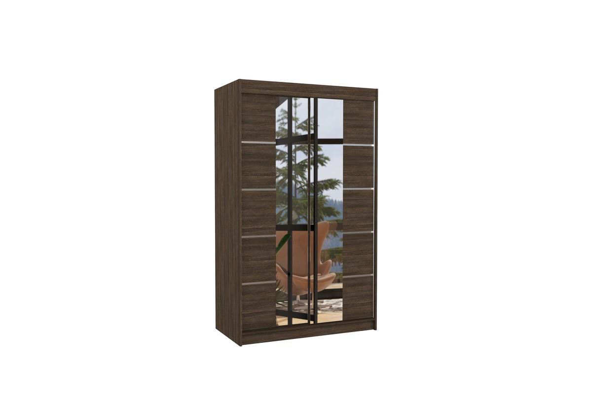 Posuvná skříň se zrcadlem GENUA, 120x200x58, čokoládová