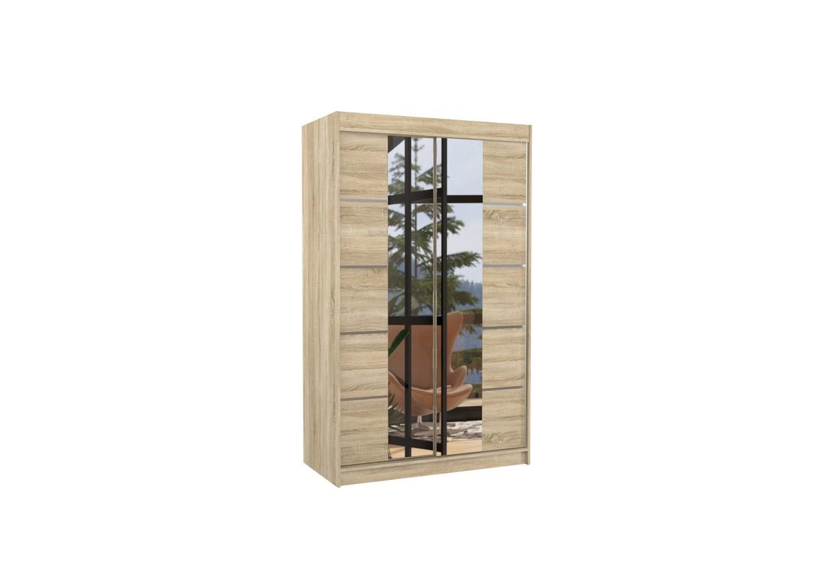 Posuvná skříň se zrcadlem GENUA, 120x200x58, sonoma