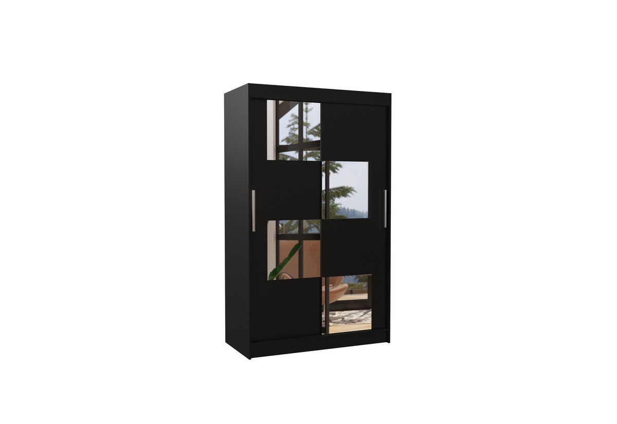 Posuvná skříň se zrcadlem LUGANO, 120x200x58, černá