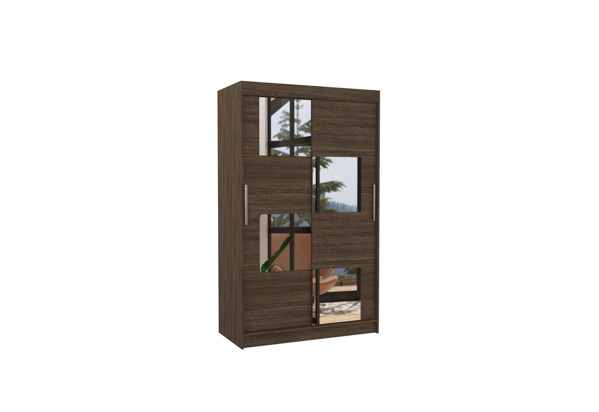 Posuvná skříň se zrcadlem LUGANO, 120x200x58, čokoládová