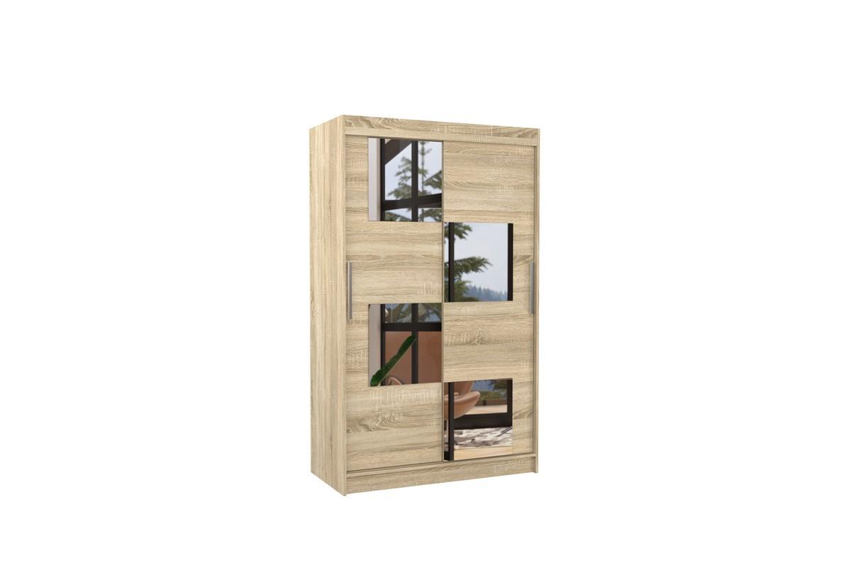 Posuvná skříň se zrcadlem LUGANO, 120x200x58, sonoma