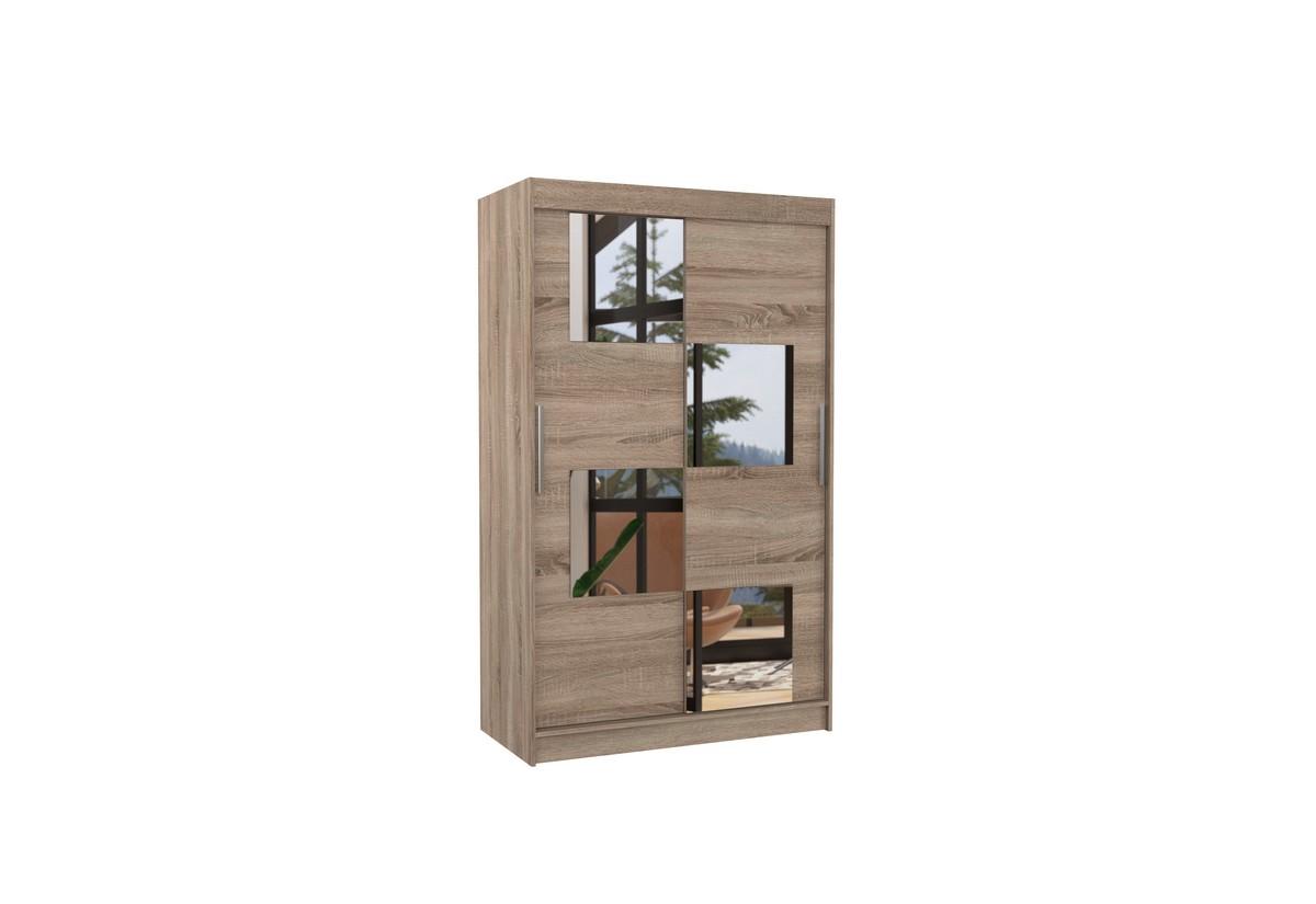 Posuvná skříň se zrcadlem LUGANO, 120x200x58, trufla