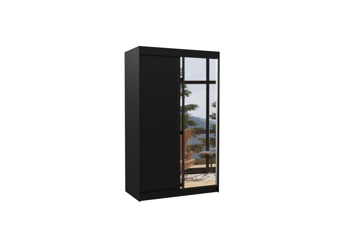 Posuvná skříň se zrcadlem REWENA, 120x200x58, černá