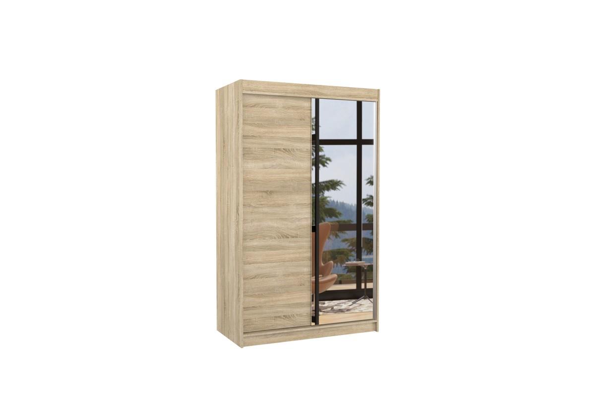Posuvná skříň se zrcadlem REWENA, 120x200x58, sonoma