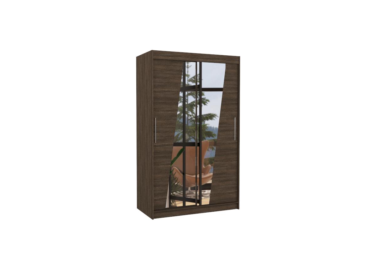 Posuvná skříň se zrcadlem TEXAS, 120x200x58, čokoládová