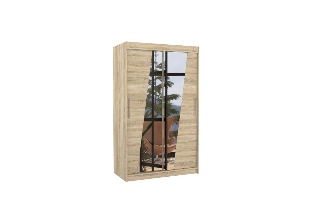 Posuvná skříň se zrcadlem TEXAS, 120x200x58, sonoma