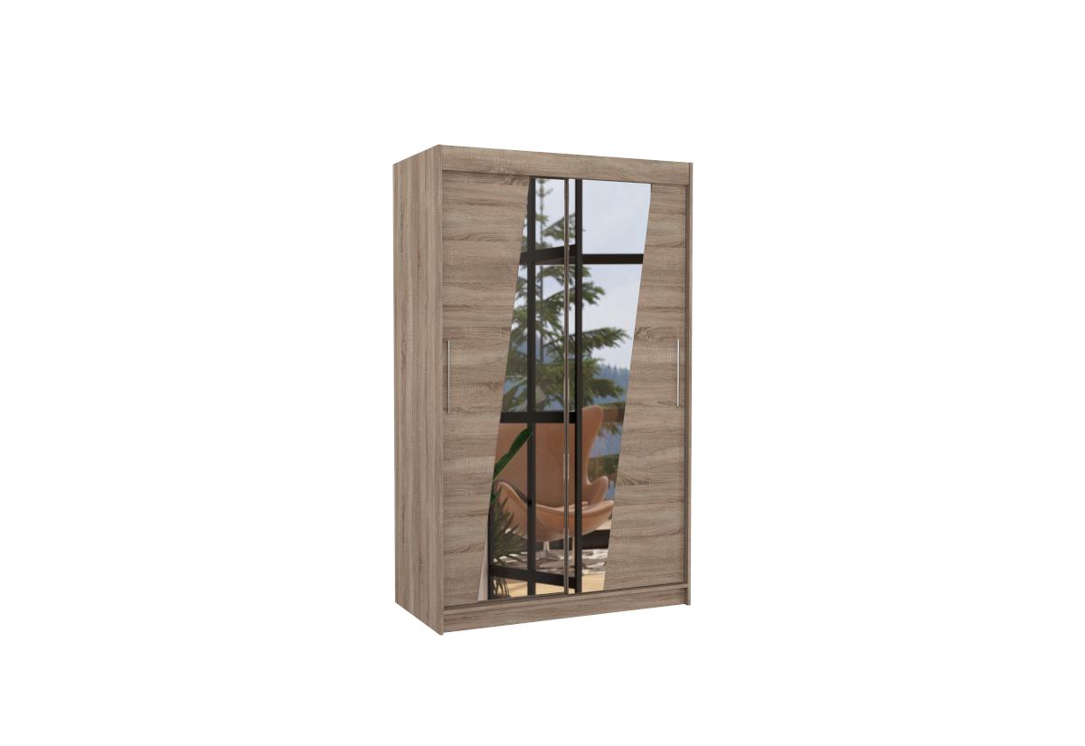 Posuvná skříň se zrcadlem TEXAS, 120x200x58, trufla